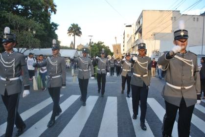 Bandas escolares se hicieron presentes en el centro histórico (Foto: ESU Javier Polanco)