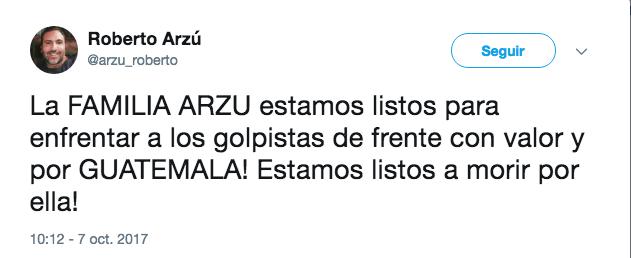 Tuit de Roberto Arzú