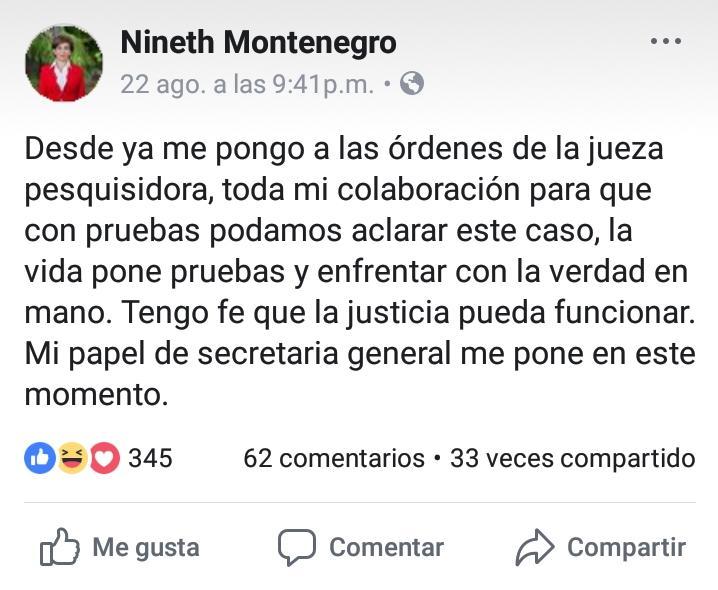 2. Nineth Montenegro de su cuenta personal de Facebook