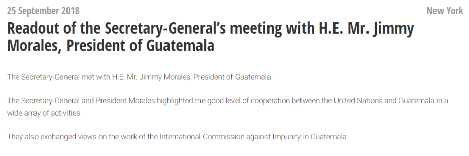 Reunion entre Jimmy Morales y Antonio Guterres