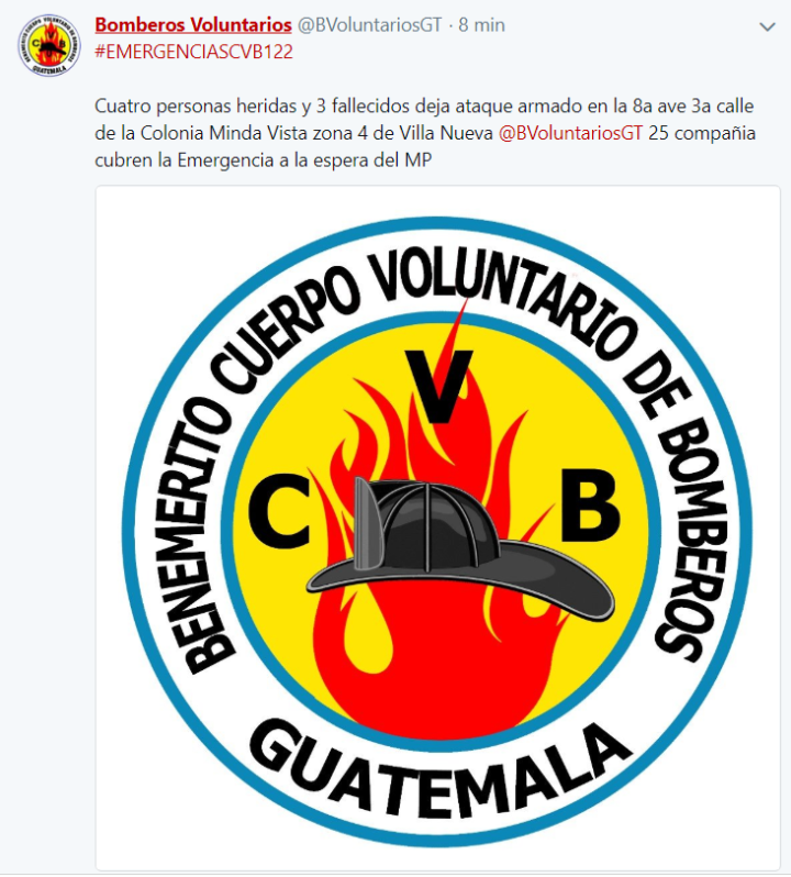 Tres fallecidos por arma de fuego Bomberos Voluntarios
