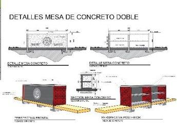 Mesa de concreto doble