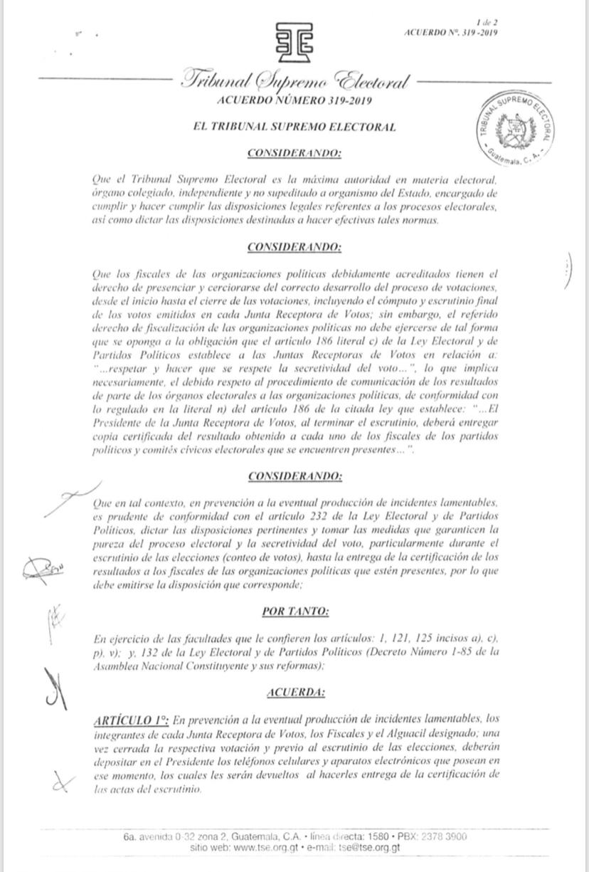 Acuerdo TSE